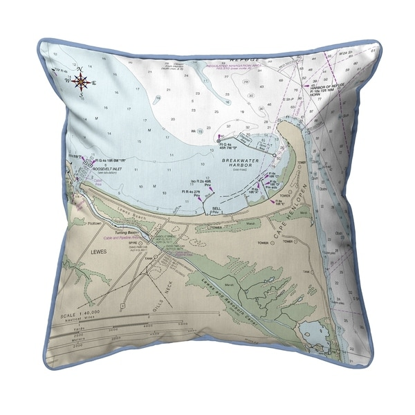 Lewes, DE Nautical Map Extra Large Zippered Pillow 22x22