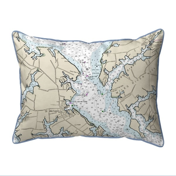 Chesapeake Bay - Miles River, MD Nautical Map Extra Large Zippered Pillow