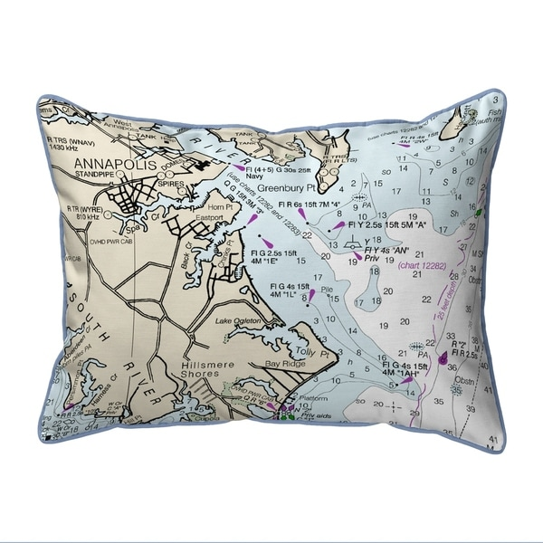 Annapolis, MD Nautical Map Extra Large Zippered Pillow