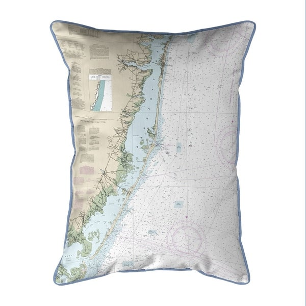 Long Beach, NJ Nautical Map Small Corded Indoor/Outdoor Pillow 11x14