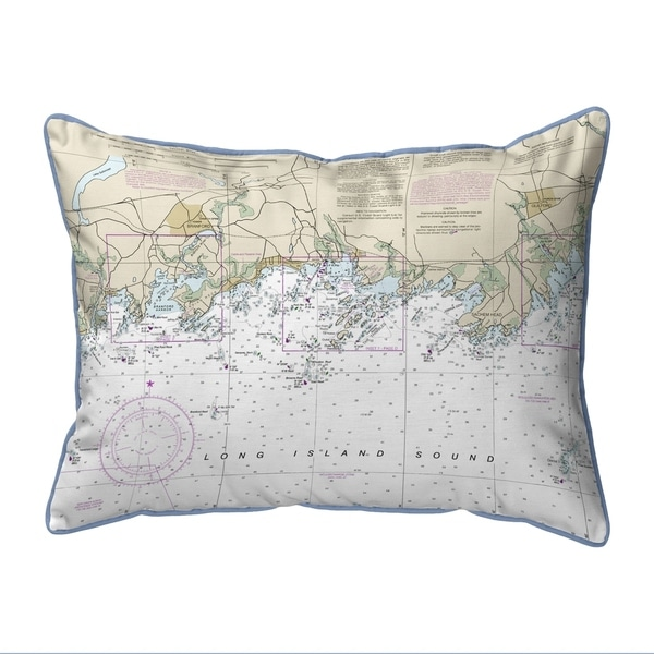 Long Island Sound, NY Nautical Map Extra Large Zippered Pillow