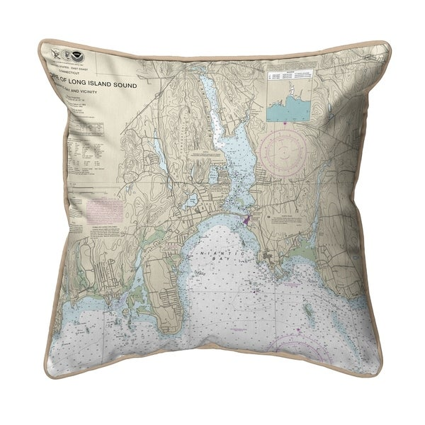 North Shore Long Island, CT Nautical Map - Tan Cord Extra Large Zippered Pillow