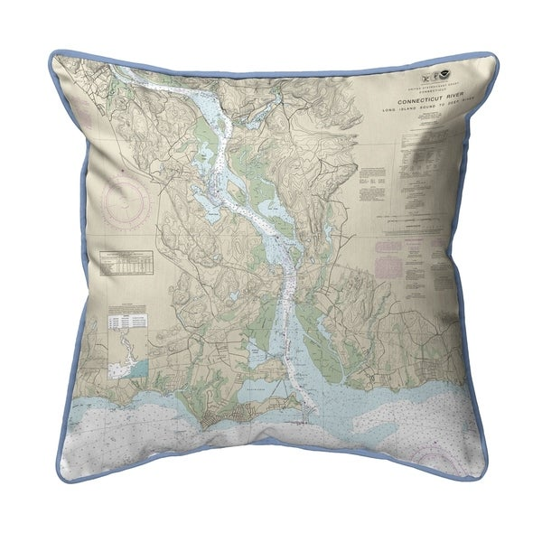 Connecticut River, CT Nautical Map Extra Large Zippered Pillow