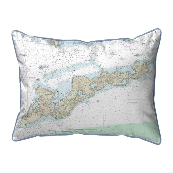 Fishers Island, RI Nautical Map Extra Large Zippered Pillow 20x24