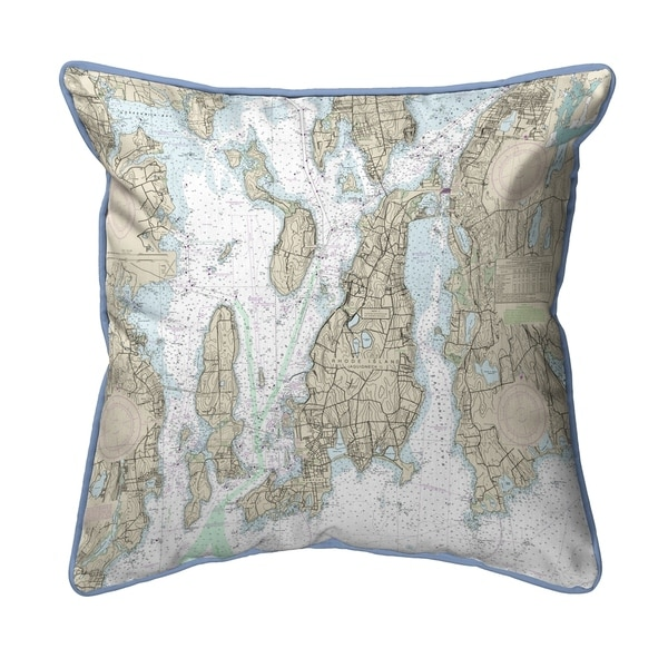 Narragansett Bay, RI Nautical Map Extra Large Zippered Pillow