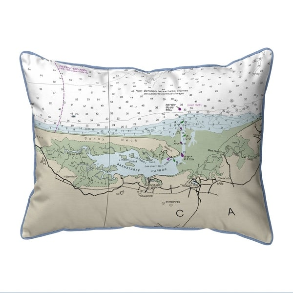 Cape Cod - Sandy Neck, MA Nautical Map Extra Large Zippered Pillow