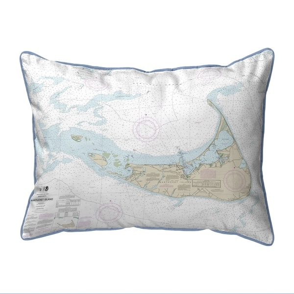 Nantucket Island, MA Nautical Map Extra Large Zippered Pillow