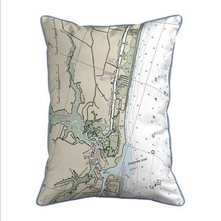 Holden Beach, NC Nautical Map Extra Large Zippered Pillow