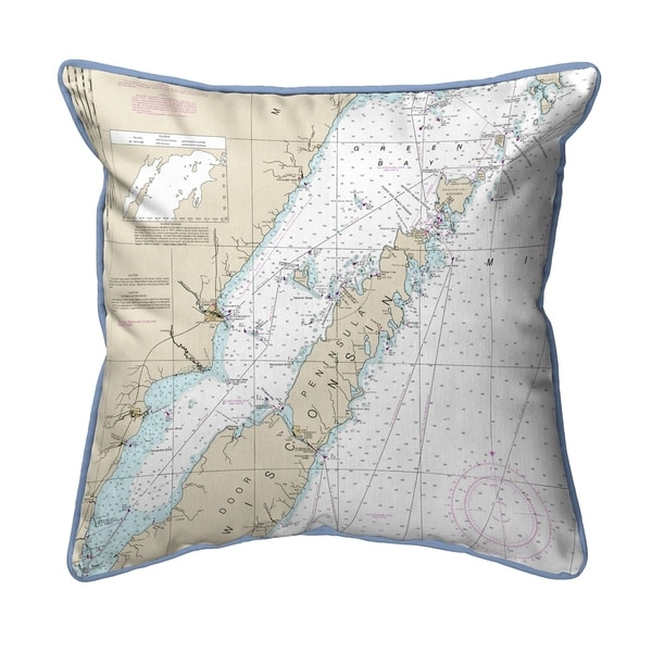 Door County, Green Bay, WI Nautical Map Extra Large Zippered Pillow