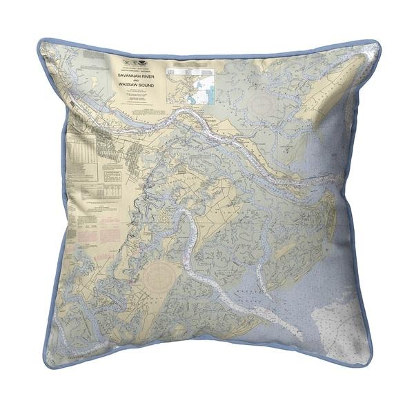 Savannah River and Wassaw Sound, GA Nautical Map Extra Large Zippered Pillow