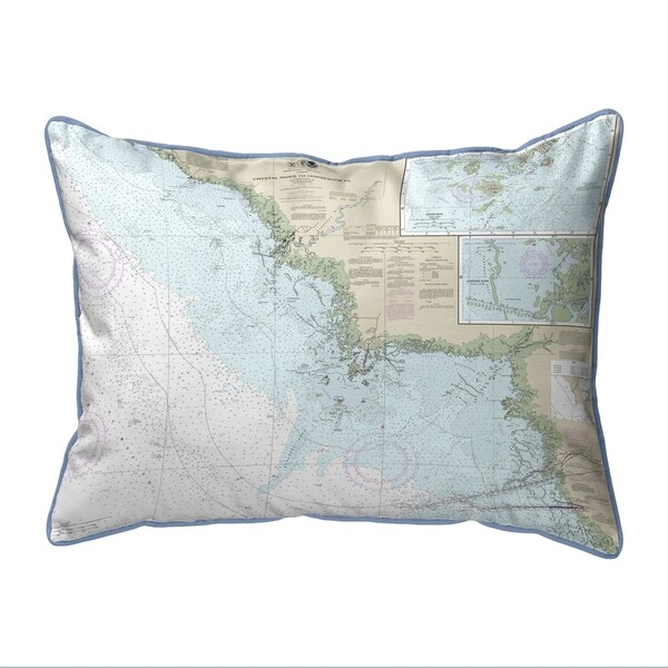 Crystal River to Horseshoe Pt, FL Nautical Map Extra Large Zippered Pillow