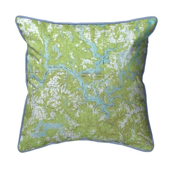 Lewis Smith Lake, AL Nautical Map Extra Large Zippered Pillow