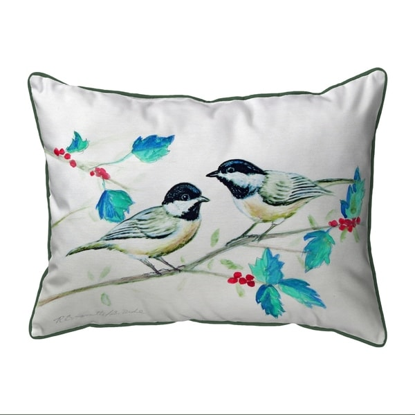 Christmas Chickadees Extra Large Zippered Pillow 20x24