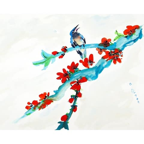 Red Buds & Birds Outdoor Wall Hanging 24x30