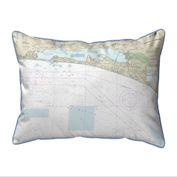 Choctawhatchee Bay, FL Nautical Map Extra Large Zippered Pillow