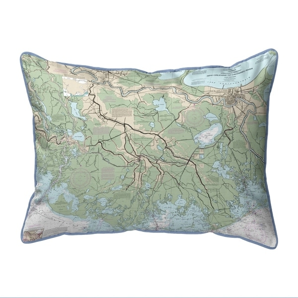 New Orleans to Calcasieu River, LA Nautical Map Extra Large Zippered Pillow