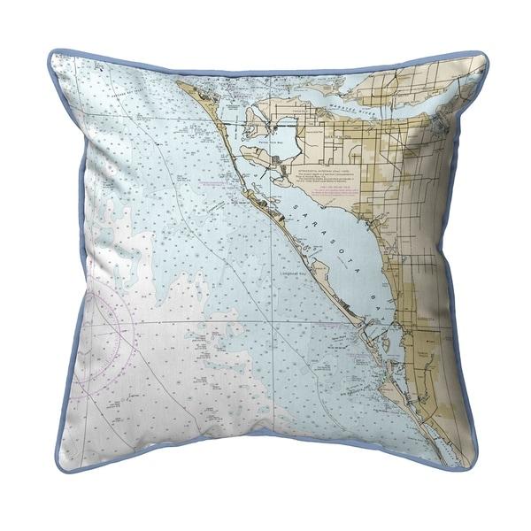 Sarasota Bay, FL Nautical Map Extra Large Zippered Pillow