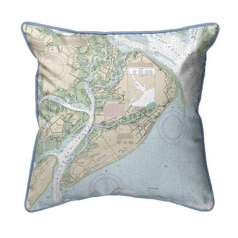 Hilton Head, SC Nautical Map Extra Large Zippered Pillow
