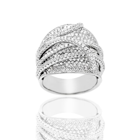 Pave Cubic Zirconia Criss Cross Silver Ring