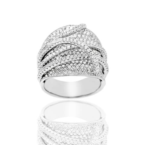 Pave Cubic Zirconia Criss Cross Sterling Silver Ring