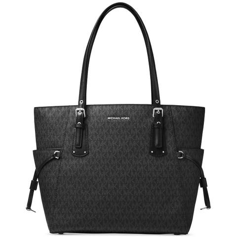95d596d18548 MICHAEL Michael Kors Voyager East West Signature Tote Black/Silver hardware