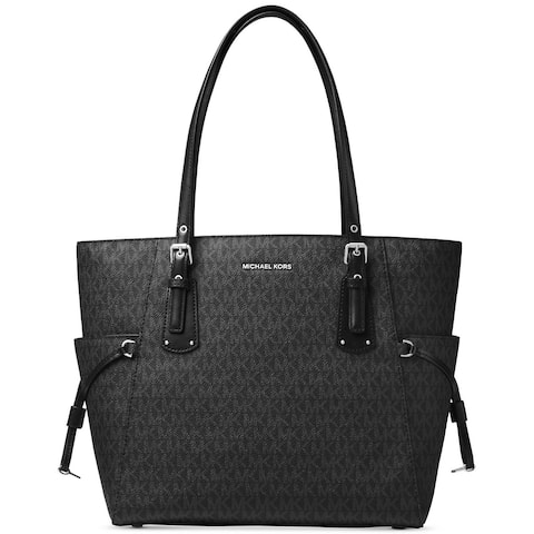 MICHAEL Michael Kors Voyager East West Signature Tote Black/Silver hardware
