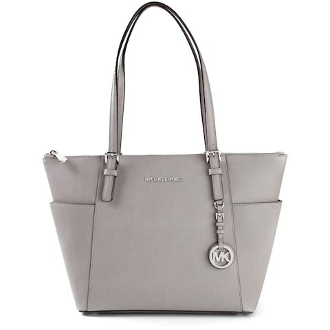 MICHAEL Michael Kors Jet Set East West Pearl Grey Top Zip Large Tote