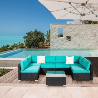 Kinbor 7 Pcs All-Weather Outdoor Furniture Patio Sectional Furniture Set Cushioned Rattan Wicker Sofa Set Turquoise
