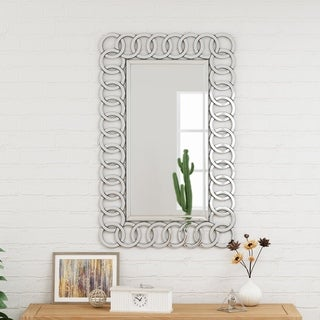 Coquette Modern Glam Chain-Link Mirror by Christopher Knight Home - Clear
