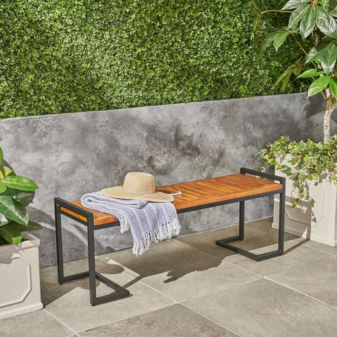 Hopkins Outdoor Industrial Acacia Wood Bench by Christopher Knight Home