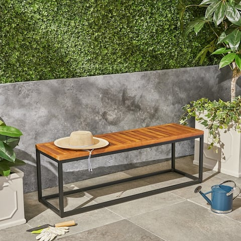 Jeco Outdoor Industrial Acacia Wood Bench by Christopher Knight Home