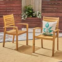 Miguel Outdoor Acacia Wood Dining Chair (Set of 2) by Christopher Knight Home