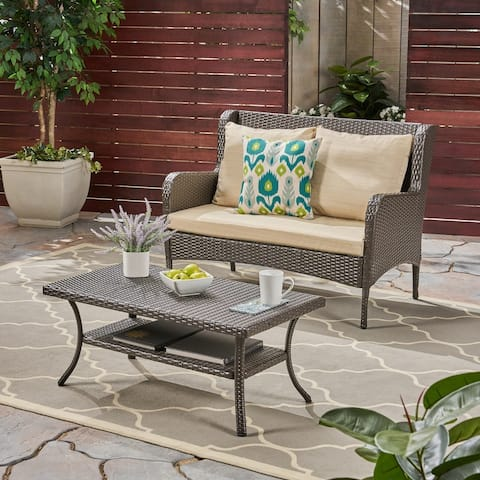 Adelaide Outdoor Wicker Loveseat and Coffee Table by Christopher Knight Home