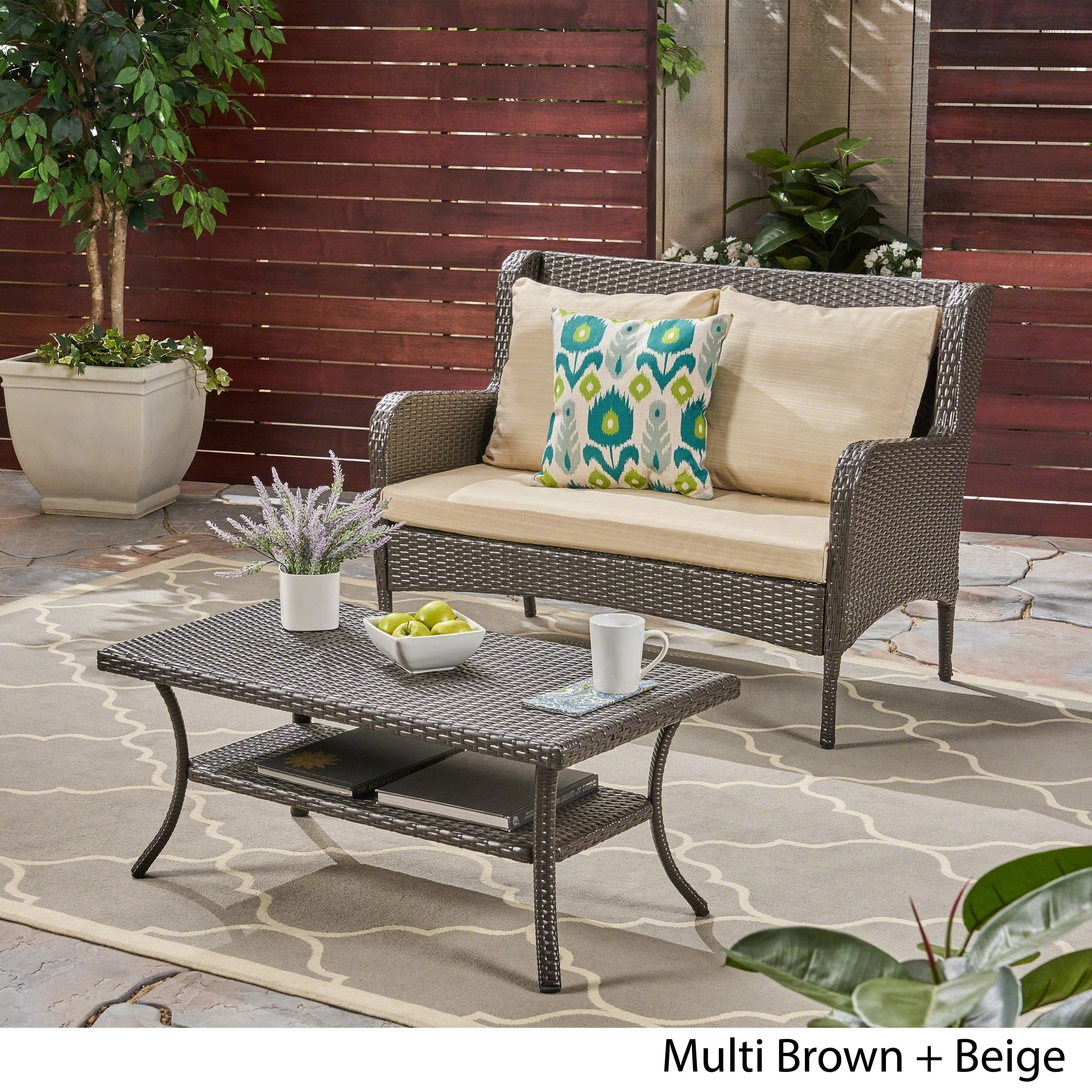 Adelaide Outdoor Wicker Loveseat And Coffee Table By