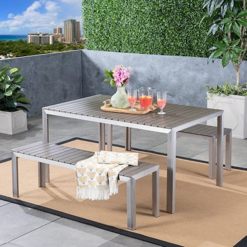 Cape Coral Outdoor Aluminum Picnic Set with Faux Wood Top by Christopher Knight Home