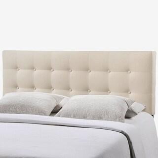 Hixson Stylish Ivory Fabric Upholstered Full Size Headboard