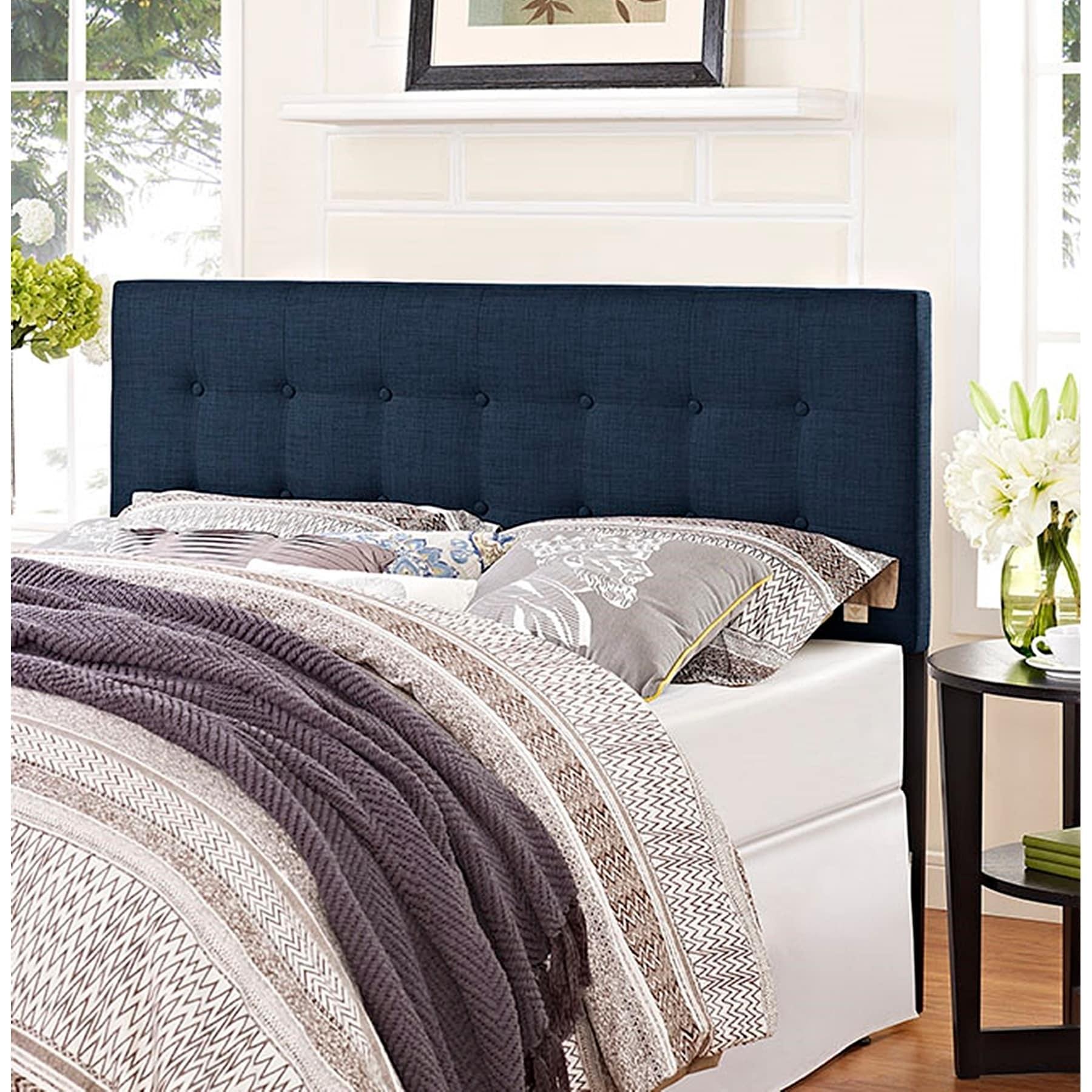 Shop Hixson Stylish Dark Blue Fabric Upholstered Full Size Headboard Overstock 22881216