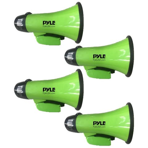 Lot of (4) Pyle PMP22GR Compact & Portable Megaphone Speaker with Siren Alarm Mode, Battery Operated