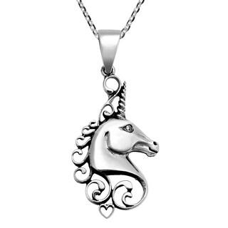 Handmade Unicorn Head & Heart Sterling Silver Necklace  (Thailand)