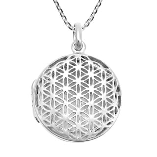 Handmade Geometric Flower Of Life Sterling Silver Locket Necklace Thailand