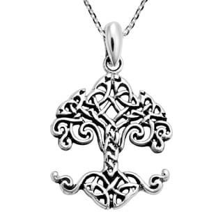 Handmade Endless Celtic Knot Into A Powerful Tree Sterling Silver Necklace Thailand