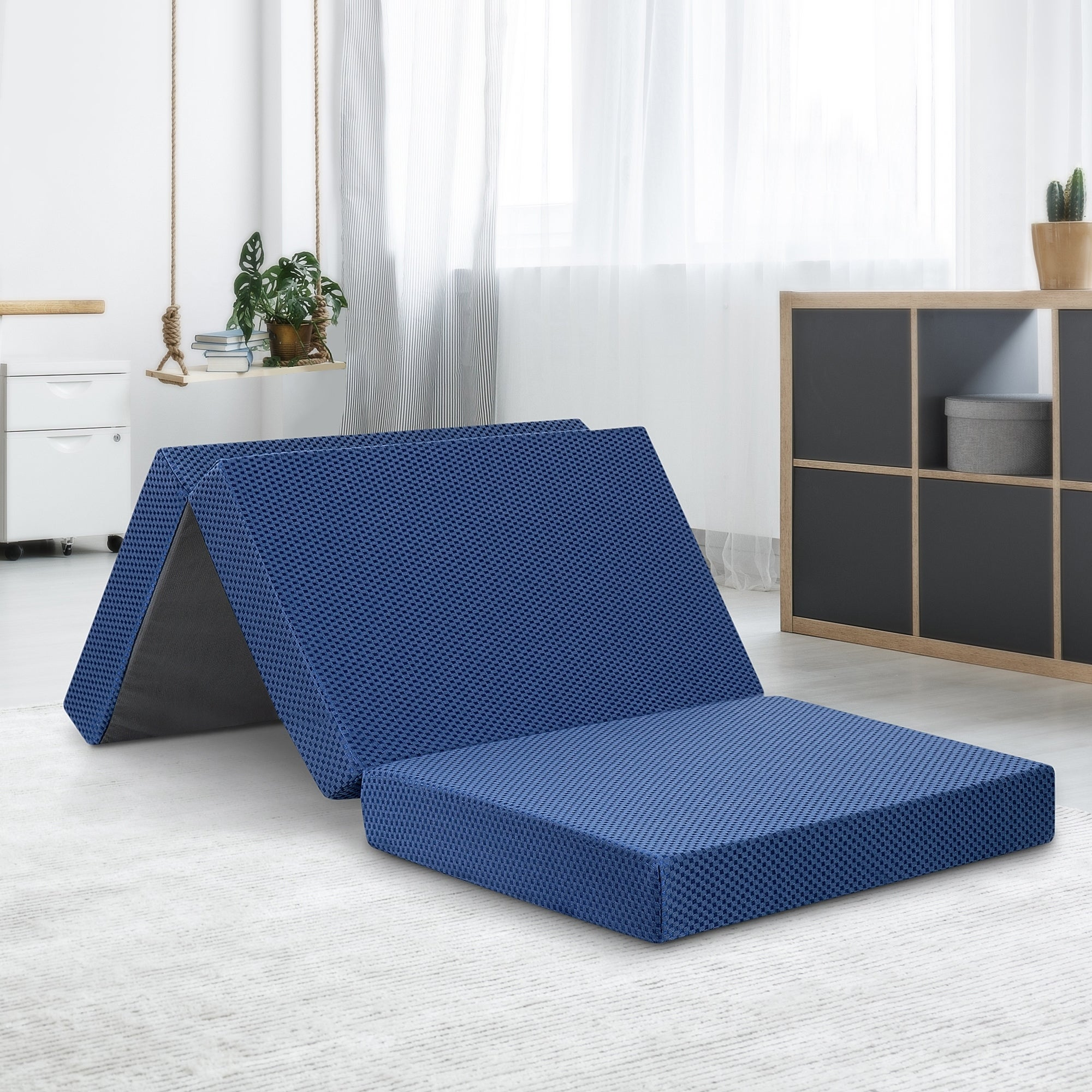 TriFold Memory Foam Mattress Sleeper Portable Camping Dorm Bed With Blue Cover