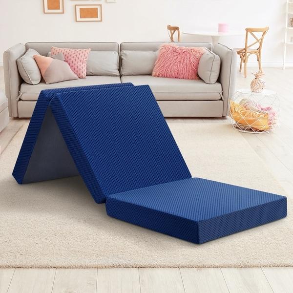 Shop Sleeplanner 4 Inch Tri Fold Memory Foam Folding Sofa Mattress