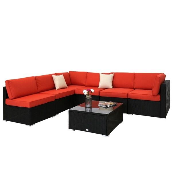 Outdoor Wicker Sectional Sofa For Sale: Shop Kinbor 7-piece Outdoor Furniture Rattan Wicker Sofa