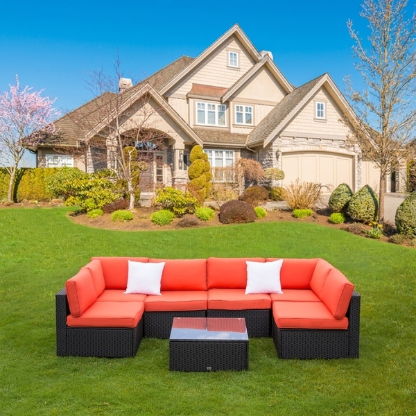 Outdoor Wicker Sectional Sofa For Sale: Shop Kinbor Patio Sectional Sofa Outdoor Furniture Wicker