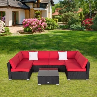 Kinbor 7 Pcs Outdoor Furniture PE Rattan Wicker Sofa Sectional Furniture Cushioned Deck Couch Set Orange