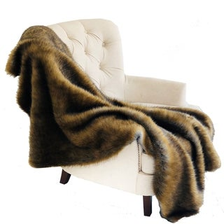 Plutus Brown and Grey Wild Grizzly Bear Faux Fur Luxury Throw