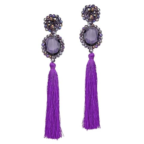 Handmade Dramatic Statement Crystal Tassel Dangling Earrings (Thailand)