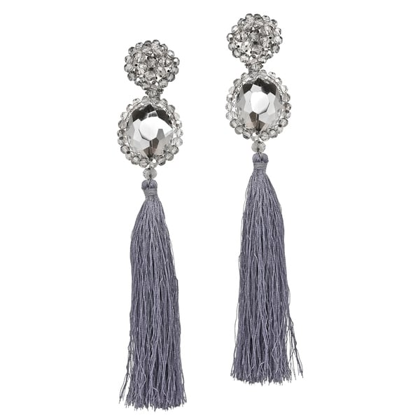 Handmade Dramatic Statement Crystal Tassel Dangling Earrings (Thailand). Opens flyout.