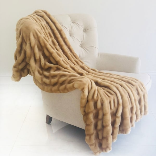 89f775e0347 Shop Plutus Beige Tissavel Mink Faux Fur Handmade Luxury Blanket ...